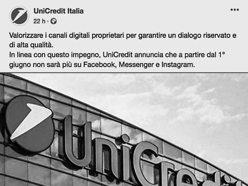 UNICREDIT LASCIA FACEBOOK